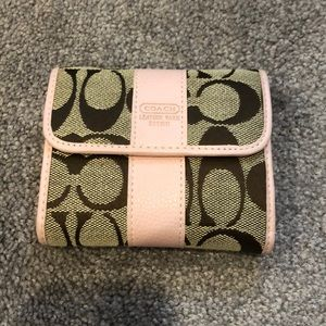 Coach leather pink and tan wallet
